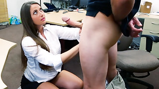 Shoplifter brunette gets fucked in the back of a gear-tooth shop