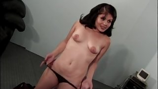 Latina brunette Daisy Mase swallows cum after a doggy style fuck