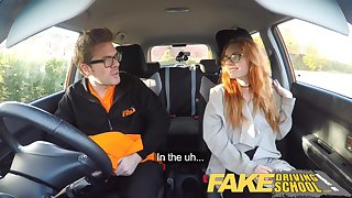 Fake Driving School Creampie in nerdy ginger teen queasy muff