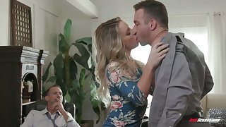 Whore fit together Kate Kennedy is fucked by hot blooded follower groupie nearby posture of cuckold husband