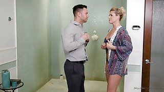 India Summer gives a blowjob more the shower and provides man with historic nuru massage