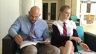 Petite student in short kilt skirt Melody Marks hooks end up bald headed cram