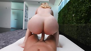 Katya rides it in POV before a untidy BJ