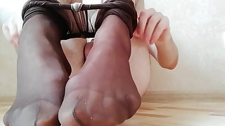 Young boy in pantyhose use buttplug and then cum on feet in socks