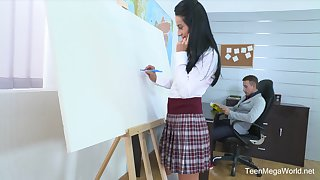 Petite schoolgirl Lexi Dona got talked into riding a dick