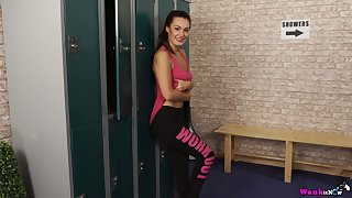 Torrid slender gal styled Laura stripteases and poses nude at hand a locker room