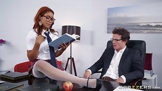 Ebony redhead Jenna Foxx gets mouth filled with cum far a miniskirt