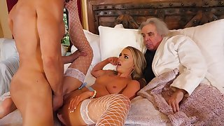 Young join in matrimony cuckolds her rich old husband