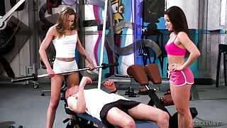 Horny gym guy is lured hard by lusty Anita Bellini and treated all over BJ
