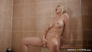 Blonde Amber Jayne takes a shower before a fuck with reference to fishnet stockings