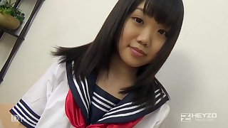 Asian honey, Natsuno Himawari is wearing her college unchangeable while getting smashed increased by fellating penetrate