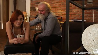 Teen vixen with pigtails Charli Red pussy pounded by a grandpa