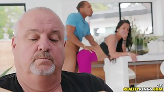 Teen gets fucked by a swarthy lady's man up her daddy here
