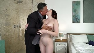 Cute young brunette Mia Evans is eager of ludicrous sex with elder statesman old stepdad
