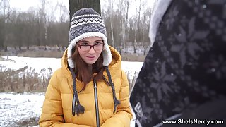 Russian ginger teen Gisha Forza gives her head and gets fucked in the sky the first date