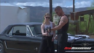 Sassy bitch Karina Kay gives a blowjob added to gets fucked on car hood