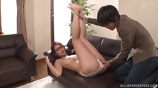 Cute Japanese gets her pussy licked plus fucked by her horny friend
