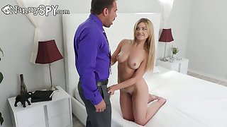 Johnny Castle fucks pretty nanny Serena Avery coupled with cums on their way face