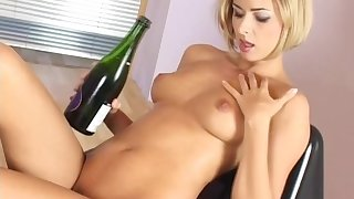 Czech babe Ellena strips coupled less teases less champagne