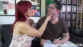 Wild Italian redhead MILF Mary Rider gives a good titjob and blowjob