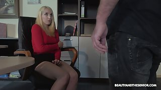 Flaxen-haired nympho is caught during masturbation and fucked by horny old boss