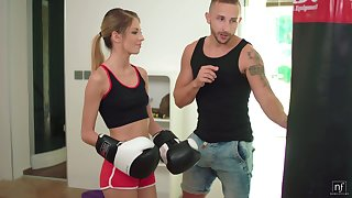 Busty shrunken Itallian stepsister Rebecca Volpetti is fucked everlasting by boxing stepbrother