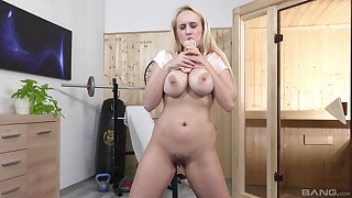Blonde fit together works her pussy with a giant dildo