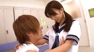 Japanese schoolgirl Asuka Hoshino has sex in a classroom