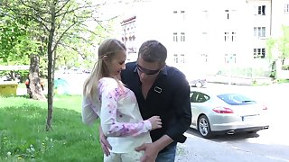Dude fucks mouth, pussy and anus of seductive Russian teen on the first date