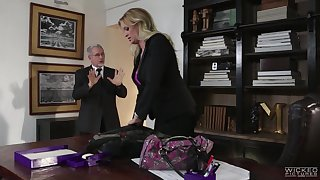 Chesty blond milf Stormy Daniels is cheating on her husband encircling his own son