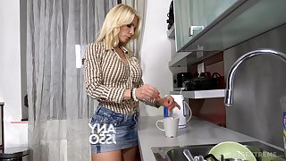 Disconsolate Hungarian stepdaughter Azure Benefactress is having crazy sex with lesbian stepmom