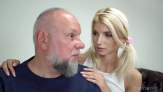 Cute tot with pigtails Missy Luv is having crazy sex with old fart