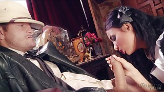 Astonishing coupled with sexy brunette maid Anissa Kate is fucked brutally by studs