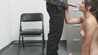 Milking and riding the guards cock roughly the back office