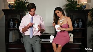 Prexy Latina Nina North gets fucked in the office by the brush big-shot
