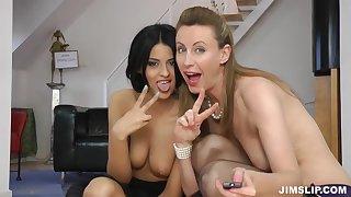 Lara Latex and gung-ho teen chick 3some porn