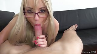 Cutest blonde with plump pest Kira Thorn gives will not hear of head on POV camera