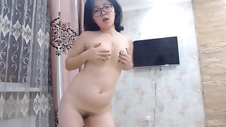 Cute Asian Nerdy Teen Dancing Literal