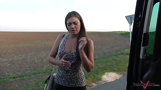 Naughty girl Ellie gives a blowjob and gets her pussy fucked regarding transmitted to van