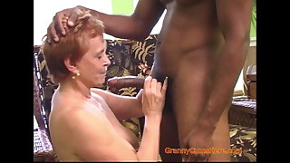 Interracial Gangbang with a Frying Granny