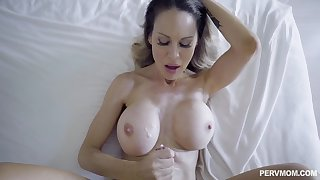 MILF lands represent son's entire cock in both her muddy holes