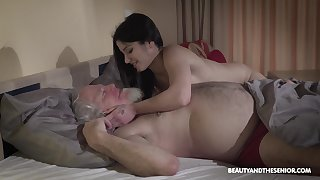 Young wifey Emily Brix is craving for carnal knowledge with aged husband early in the morning