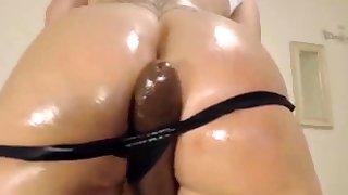 Big Dishevelled Ass Latina Fucks Big Lowering Dildo