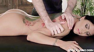 Big titty massage and upside down throat intrigue b passion scene featuring Romi Rain