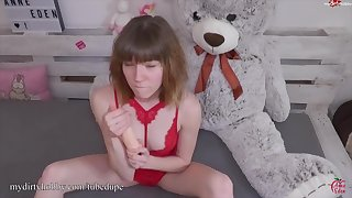 MyDirtyHobby - Horny teen gets to use her new toy for the first adulthood