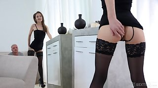 Dude bangs hottie Stasia Si and sucks her sexy legs at the same time