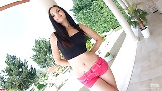 Beautiful young brunette Kristy Black shows gaped and the dough anal cleft
