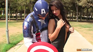 Captain America bangs pretty brunette plus cums on her chirpy titty