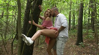 Fetching blonde gets intimate with a random guy in the park