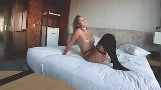 Latina in fishnet pantyhose sucks and rides cock in along to bedroom